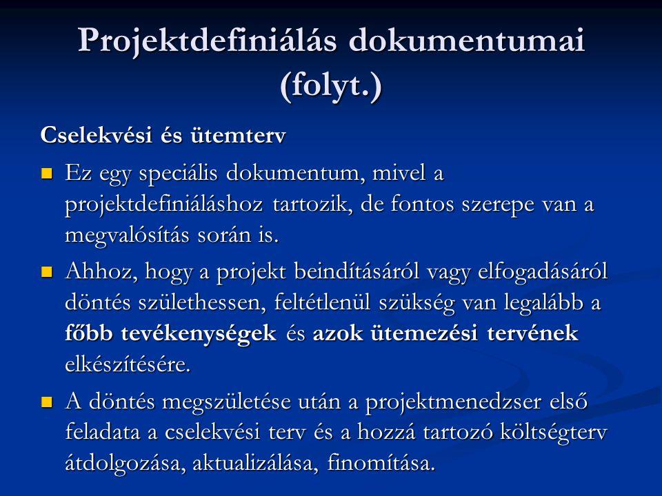Projektdefiniálás dokumentumai (folyt.) Cselekvési és ütemterv  Ez egy speciális dokumentum, mivel a projektdefiniáláshoz tartozik, de fontos szerepe van a megvalósítás során is.