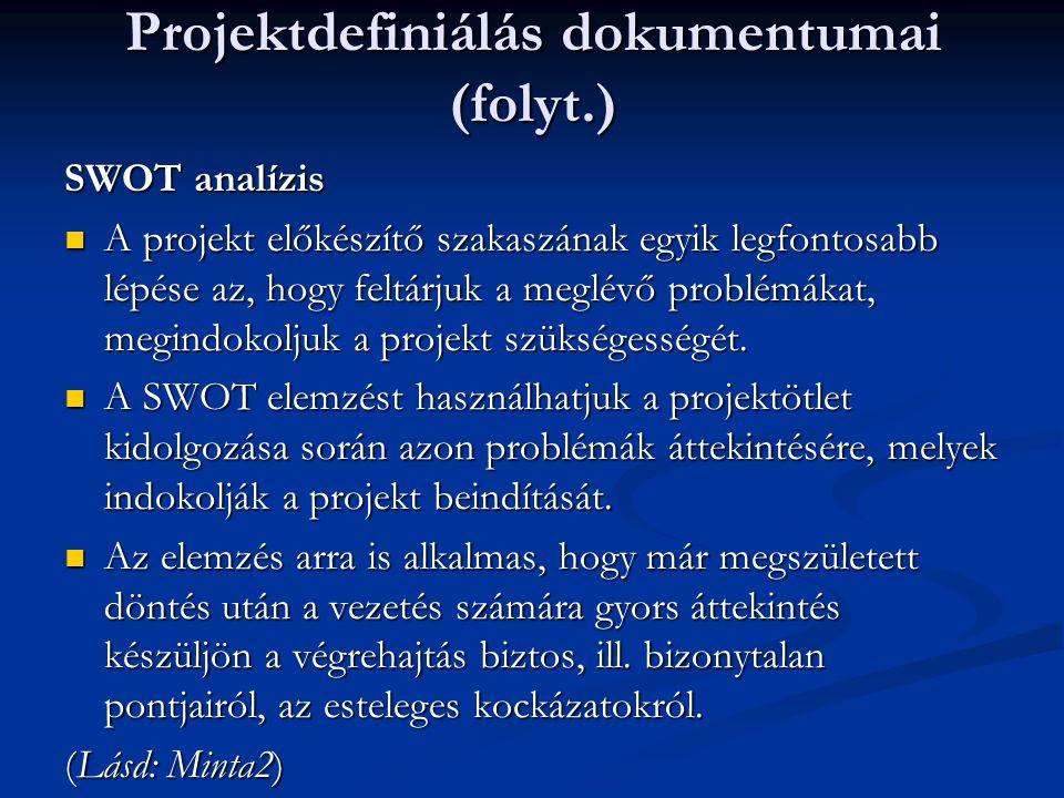 Projektdefiniálás dokumentumai (folyt.) SWOT analízis  A projekt előkészítő szakaszának egyik legfontosabb lépése az, hogy feltárjuk a meglévő problémákat, megindokoljuk a projekt szükségességét.