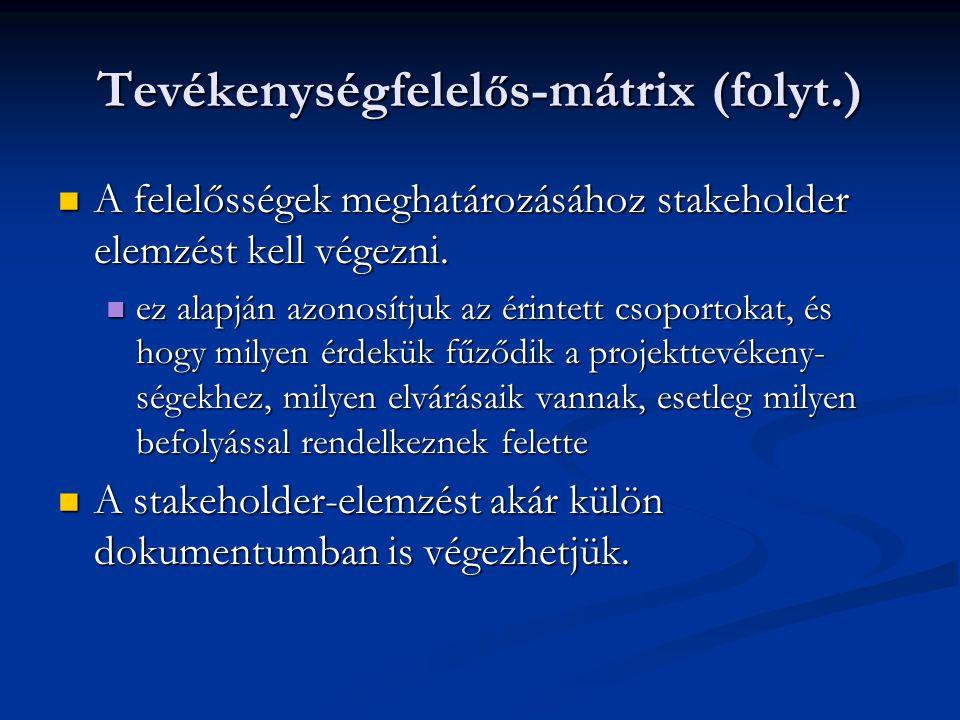 Tevékenységfelel ő s-mátrix (folyt.)  A felelősségek meghatározásához stakeholder elemzést kell végezni.