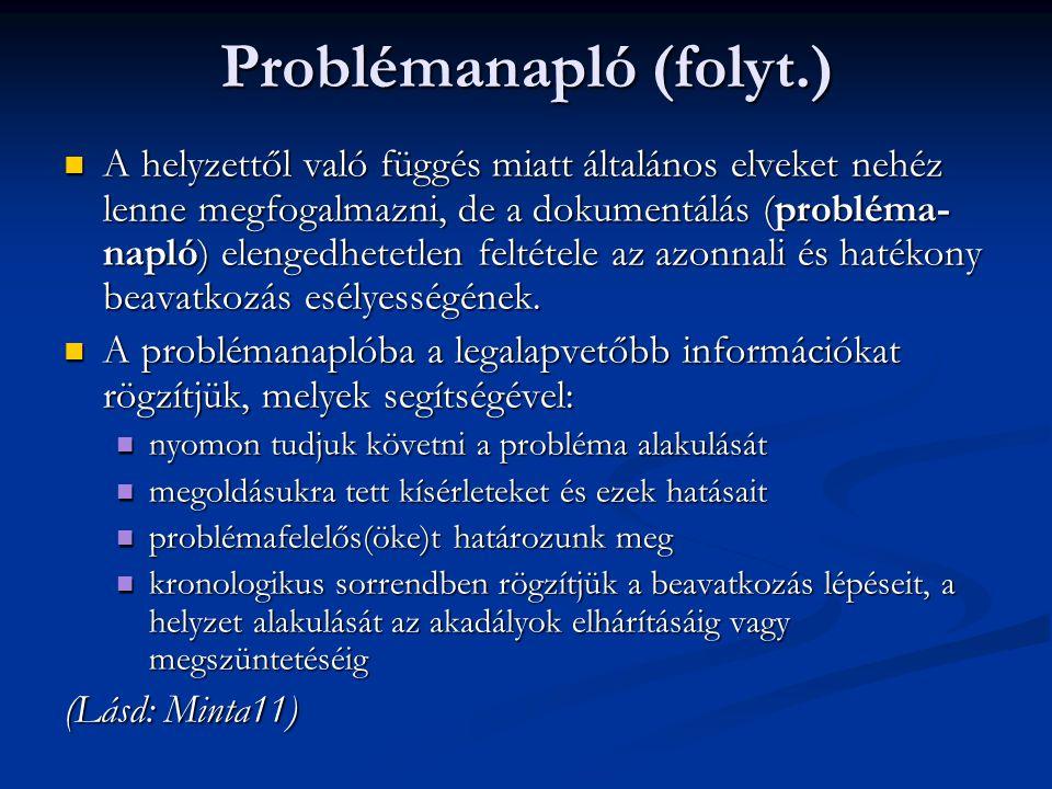 Problémanapló (folyt.)  A helyzettől való függés miatt általános elveket nehéz lenne megfogalmazni, de a dokumentálás (probléma- napló) elengedhetetl