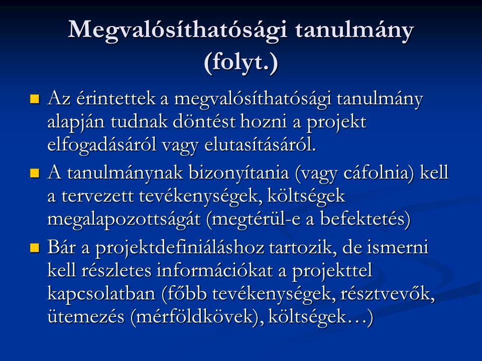 Megvalósíthatósági tanulmány (folyt.)  A tanulmány összeállításához tehát rendelkeznünk kell a különböző területeket érintő tervekkel és elemzésekkel.