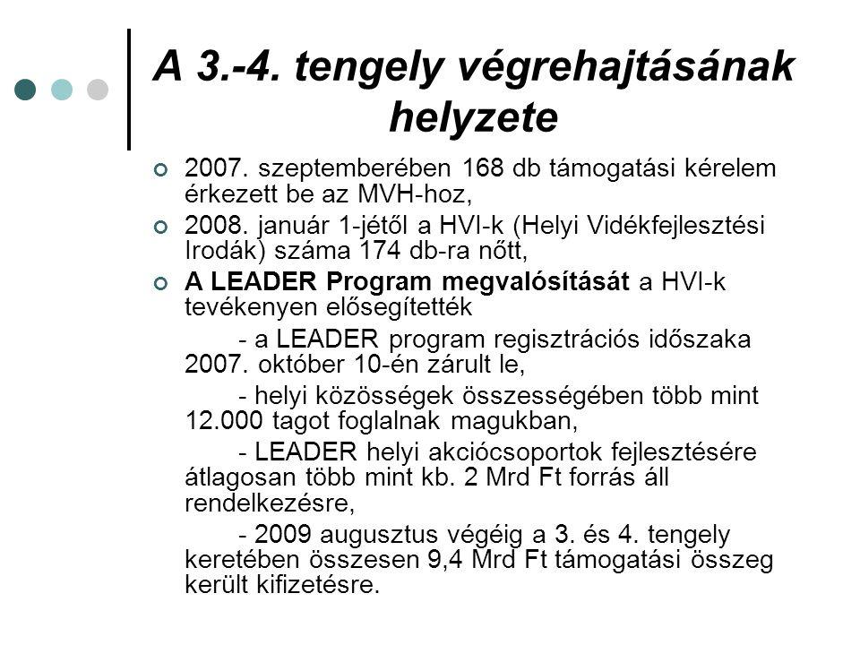 A 3.-4. tengely végrehajtásának helyzete 2007. szeptemberében 168 db támogatási kérelem érkezett be az MVH-hoz, 2008. január 1-jétől a HVI-k (Helyi Vi