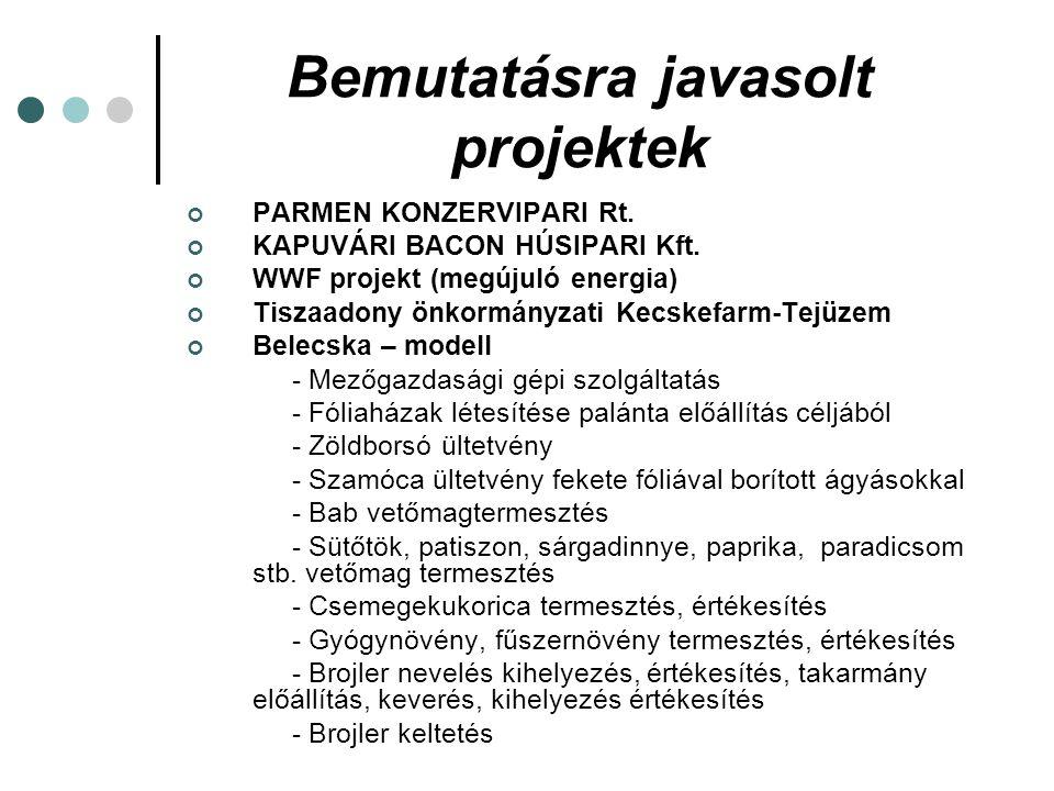 Bemutatásra javasolt projektek PARMEN KONZERVIPARI Rt. KAPUVÁRI BACON HÚSIPARI Kft. WWF projekt (megújuló energia) Tiszaadony önkormányzati Kecskefarm