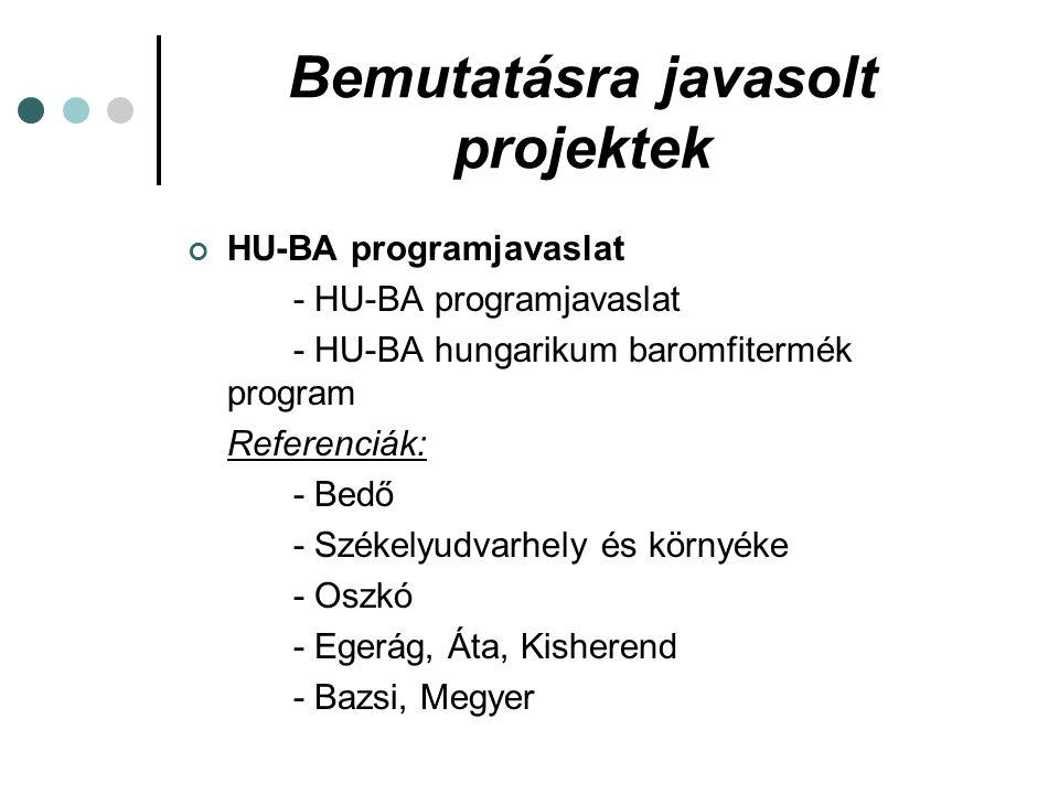 Bemutatásra javasolt projektek HU-BA programjavaslat - HU-BA programjavaslat - HU-BA hungarikum baromfitermék program Referenciák: - Bedő - Székelyudvarhely és környéke - Oszkó - Egerág, Áta, Kisherend - Bazsi, Megyer