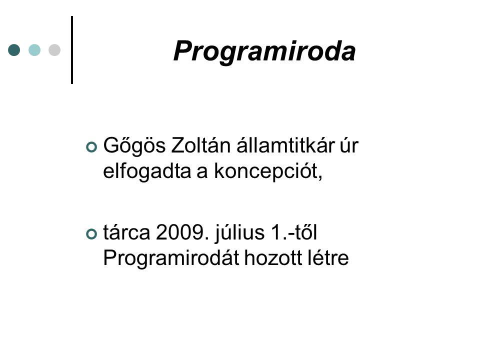 Programiroda Gőgös Zoltán államtitkár úr elfogadta a koncepciót, tárca 2009. július 1.-től Programirodát hozott létre