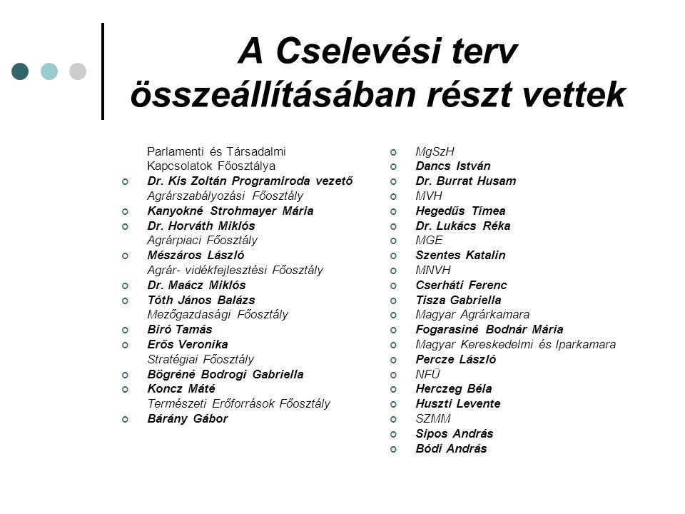 A Cselevési terv összeállításában részt vettek Parlamenti és Társadalmi Kapcsolatok Főosztálya Dr. Kis Zoltán Programiroda vezető Agrárszabályozási Fő