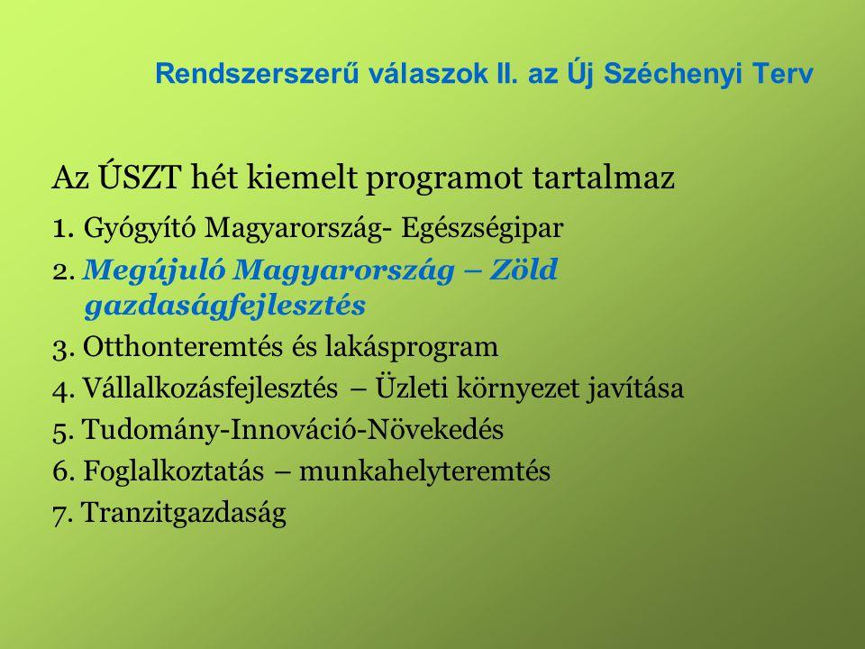 Rendszerszerű válaszok II. az Új Széchenyi Terv Az ÚSZT hét kiemelt programot tartalmaz 1.