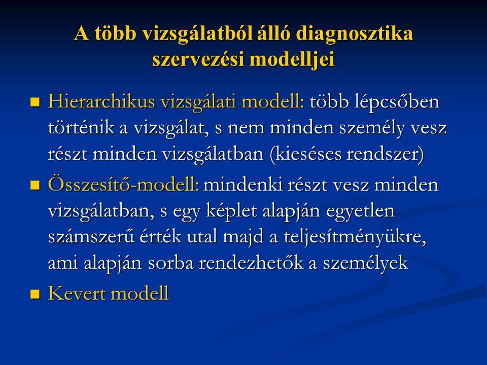 A több vizsgálatból álló diagnosztika szervezési modelljei  Hierarchikus vizsgálati modell: több lépcsőben történik a vizsgálat, s nem minden személy