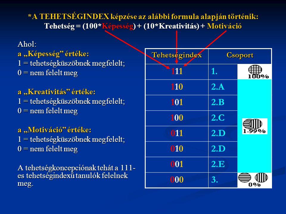 """*A TEHETSÉGINDEX képzése az alábbi formula alapján történik: Tehetség = (100*Képesség) + (10*Kreativitás) + Motiváció Ahol: a """"Képesség"""" értéke: 1 = t"""