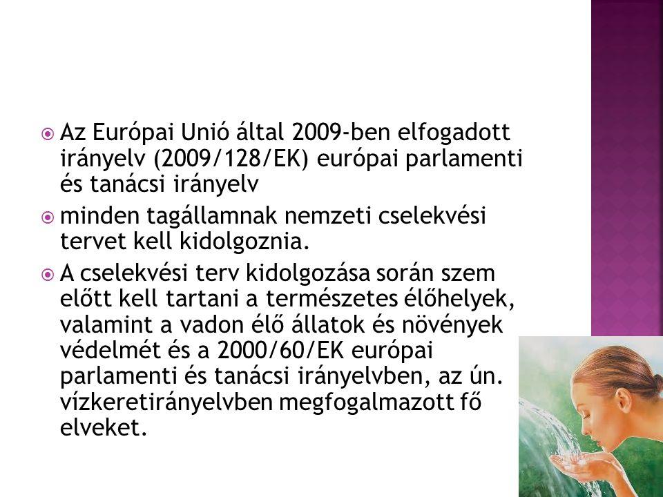  Az Európai Unió által 2009-ben elfogadott irányelv (2009/128/EK) európai parlamenti és tanácsi irányelv  minden tagállamnak nemzeti cselekvési terv