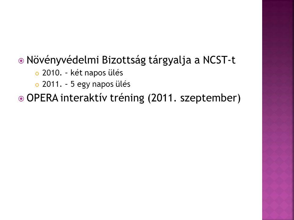  Növényvédelmi Bizottság tárgyalja a NCST-t 2010. – két napos ülés 2011. – 5 egy napos ülés  OPERA interaktív tréning (2011. szeptember)