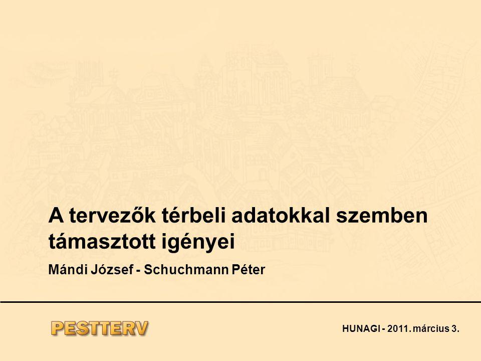 A tervezők térbeli adatokkal szemben támasztott igényei Mándi József - Schuchmann Péter HUNAGI - 2011.