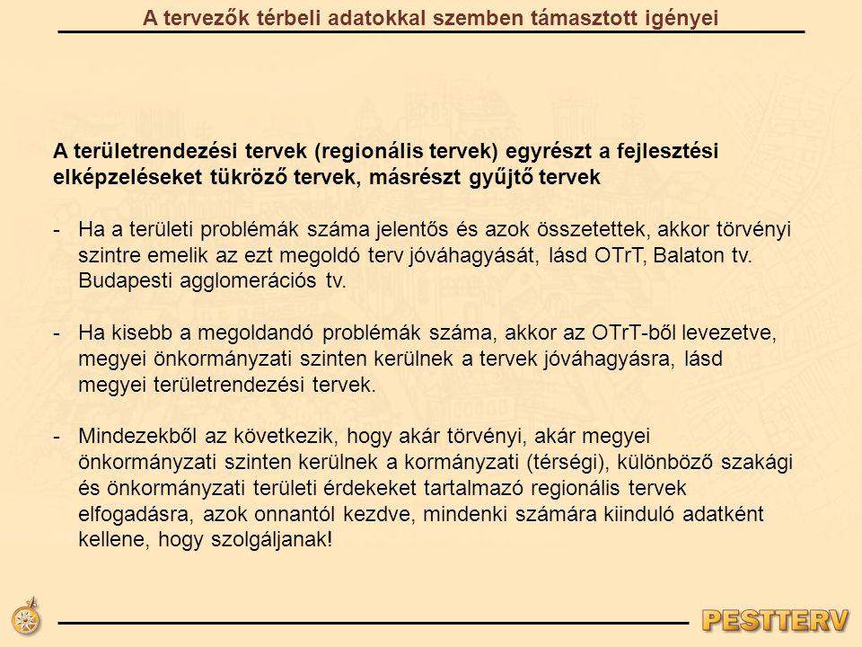 A területrendezési tervek (regionális tervek) egyrészt a fejlesztési elképzeléseket tükröző tervek, másrészt gyűjtő tervek -Ha a területi problémák száma jelentős és azok összetettek, akkor törvényi szintre emelik az ezt megoldó terv jóváhagyását, lásd OTrT, Balaton tv.