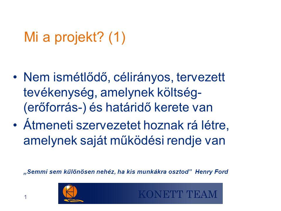 1 Mi a projekt? (1) •Nem ismétlődő, célirányos, tervezett tevékenység, amelynek költség- (erőforrás-) és határidő kerete van •Átmeneti szervezetet hoz