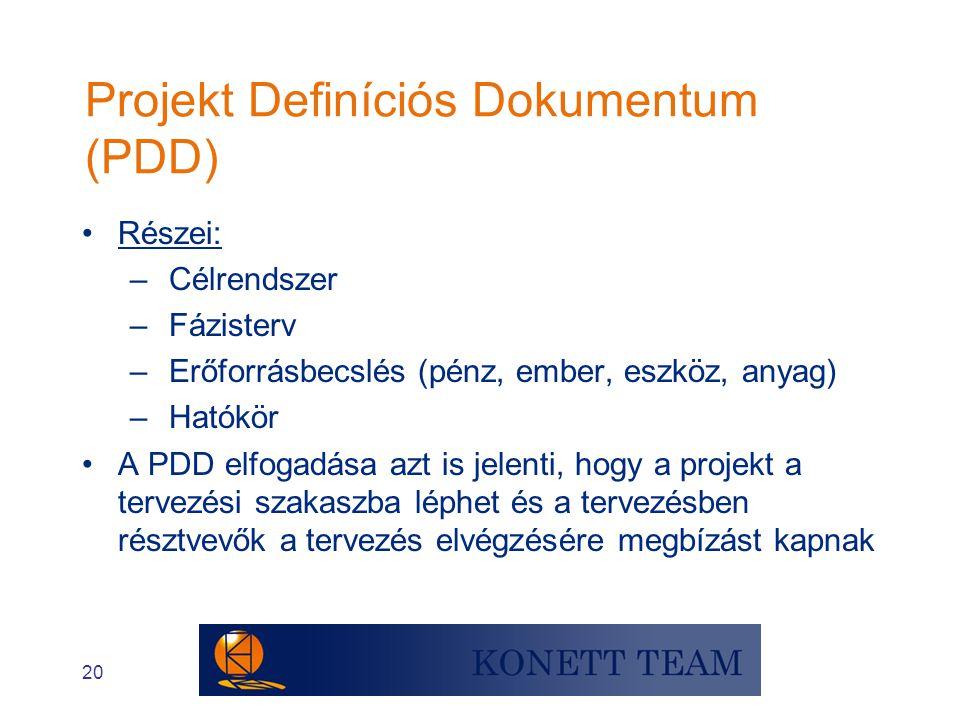 20 Projekt Definíciós Dokumentum (PDD) •Részei: – Célrendszer – Fázisterv – Erőforrásbecslés (pénz, ember, eszköz, anyag) – Hatókör •A PDD elfogadása