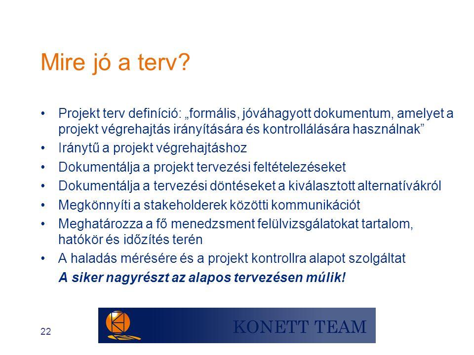 """22 Mire jó a terv? •Projekt terv definíció: """"formális, jóváhagyott dokumentum, amelyet a projekt végrehajtás irányítására és kontrollálására használna"""