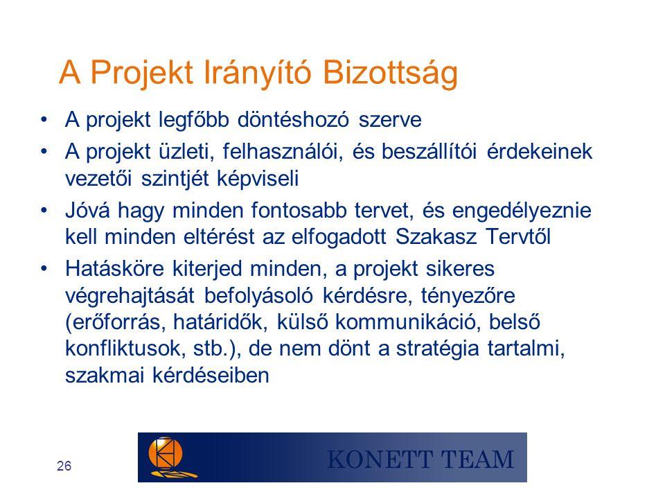 26 A Projekt Irányító Bizottság •A projekt legfőbb döntéshozó szerve •A projekt üzleti, felhasználói, és beszállítói érdekeinek vezetői szintjét képvi