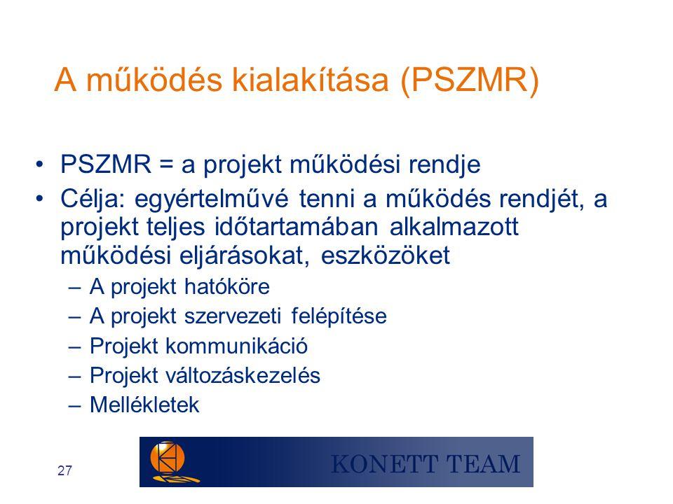27 •PSZMR = a projekt működési rendje •Célja: egyértelművé tenni a működés rendjét, a projekt teljes időtartamában alkalmazott működési eljárásokat, e