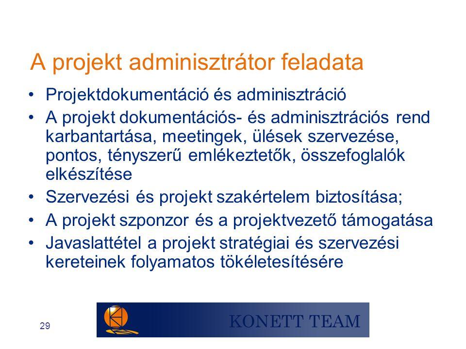 29 A projekt adminisztrátor feladata •Projektdokumentáció és adminisztráció •A projekt dokumentációs- és adminisztrációs rend karbantartása, meetingek
