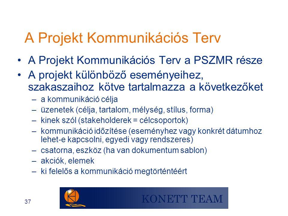 37 A Projekt Kommunikációs Terv •A Projekt Kommunikációs Terv a PSZMR része •A projekt különböző eseményeihez, szakaszaihoz kötve tartalmazza a követk