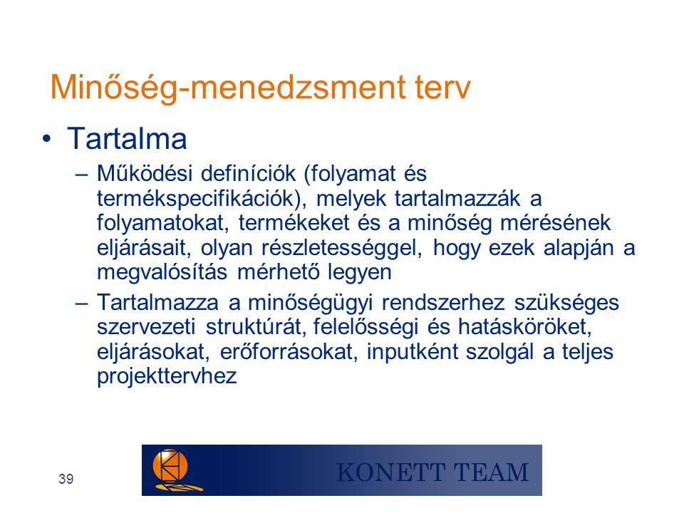 39 Minőség-menedzsment terv •Tartalma –Működési definíciók (folyamat és termékspecifikációk), melyek tartalmazzák a folyamatokat, termékeket és a minő
