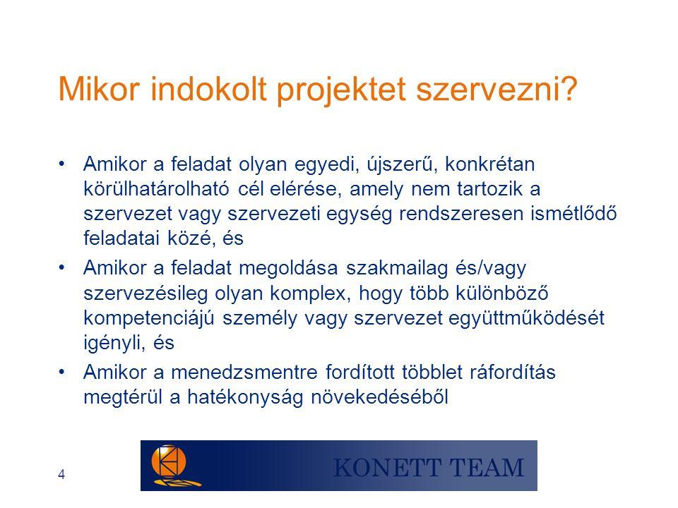 5 Projekt- és szervezeti feladat ki kell találni meghatározott idejű összetett, új különleges, újszerű Projekt hagyományos Megoldás folyamatosFeladat megszokott gyakorlat szerint Probléma mindennapi Tevékenység Szervezeti feladat