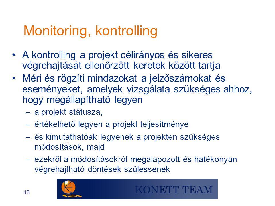 45 Monitoring, kontrolling •A kontrolling a projekt célirányos és sikeres végrehajtását ellenőrzött keretek között tartja •Méri és rögzíti mindazokat