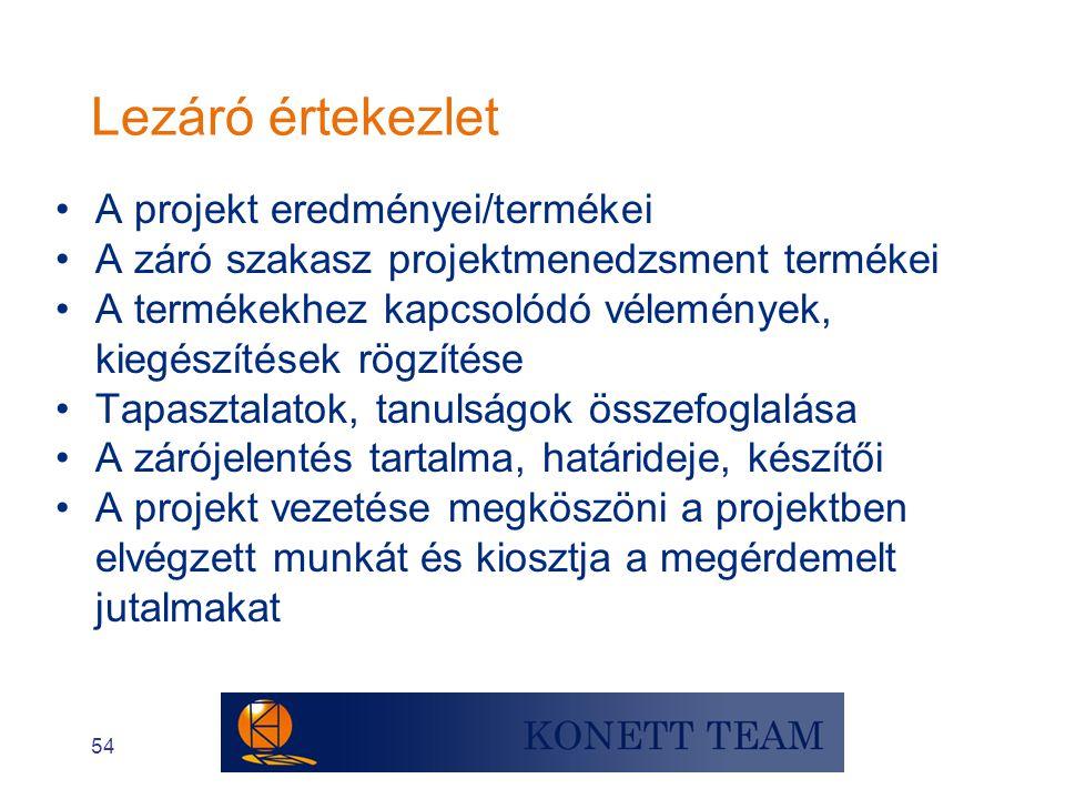 54 •A projekt eredményei/termékei •A záró szakasz projektmenedzsment termékei •A termékekhez kapcsolódó vélemények, kiegészítések rögzítése •Tapasztal