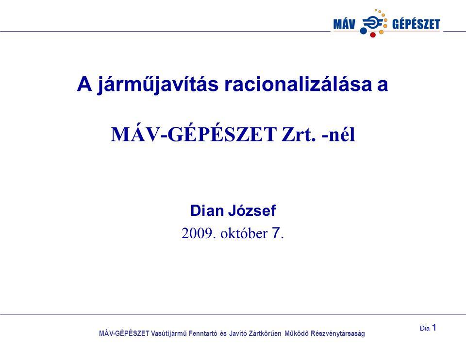 MÁV-GÉPÉSZET Vasútijármű Fenntartó és Javító Zártkörűen Működő Részvénytársaság Dia 1 A járműjavítás racionalizálása a MÁV-GÉPÉSZET Zrt. -nél Dian Józ