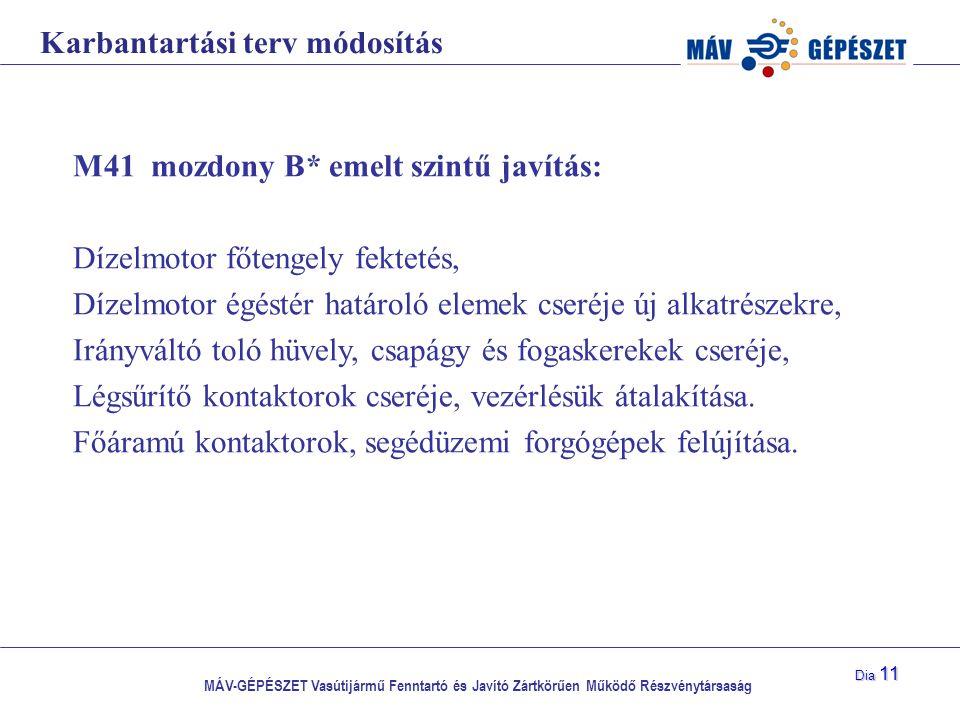 MÁV-GÉPÉSZET Vasútijármű Fenntartó és Javító Zártkörűen Működő Részvénytársaság Dia 11 Karbantartási terv módosítás M41 mozdony B* emelt szintű javítá