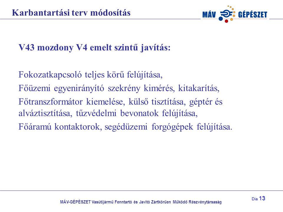 MÁV-GÉPÉSZET Vasútijármű Fenntartó és Javító Zártkörűen Működő Részvénytársaság Dia 13 Karbantartási terv módosítás V43 mozdony V4 emelt szintű javítá