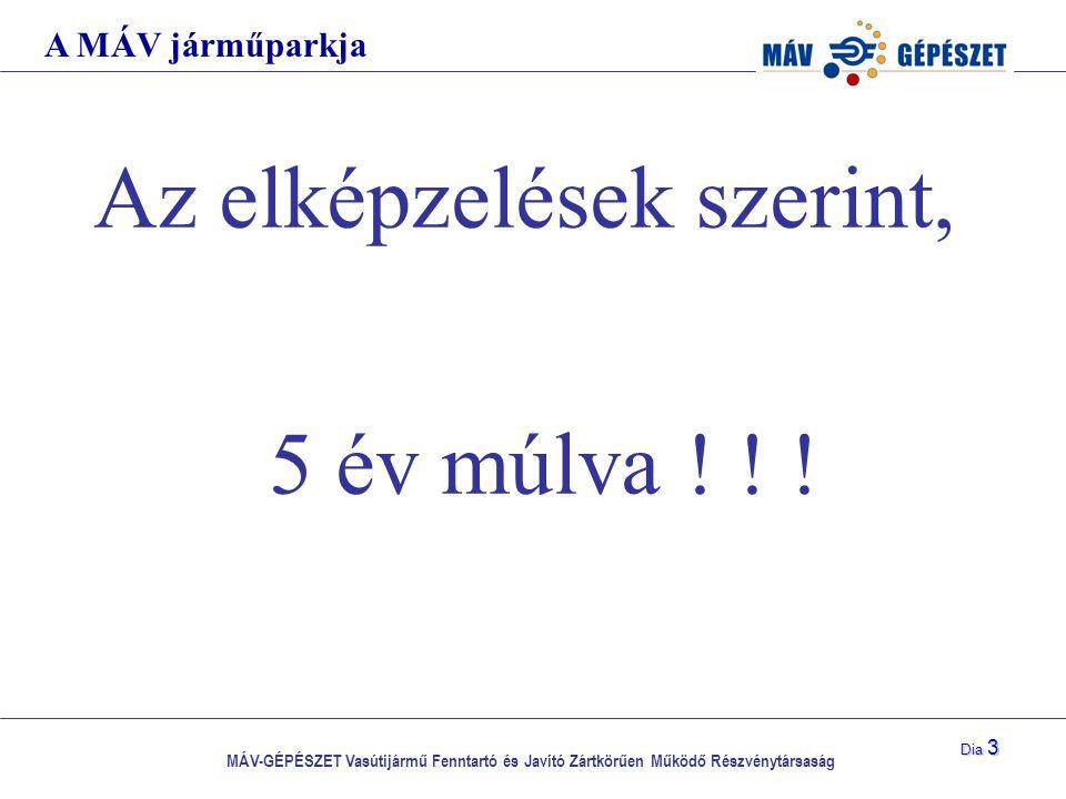 MÁV-GÉPÉSZET Vasútijármű Fenntartó és Javító Zártkörűen Működő Részvénytársaság Dia 3 Az elképzelések szerint, 5 év múlva ! ! ! A MÁV járműparkja