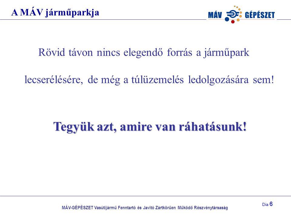 MÁV-GÉPÉSZET Vasútijármű Fenntartó és Javító Zártkörűen Működő Részvénytársaság Dia 6 Rövid távon nincs elegendő forrás a járműpark lecserélésére, de