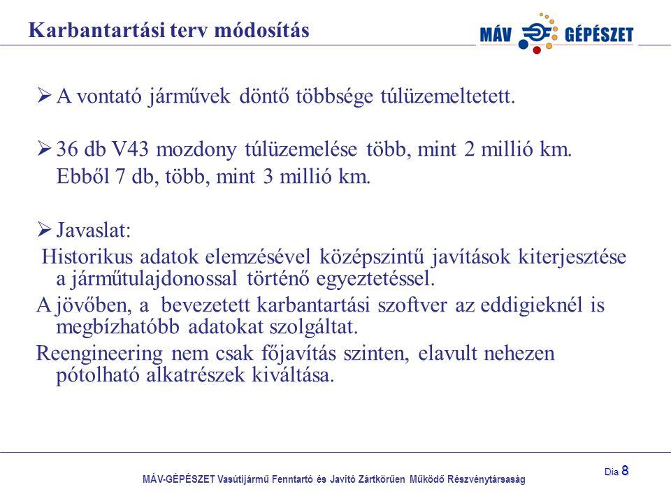 MÁV-GÉPÉSZET Vasútijármű Fenntartó és Javító Zártkörűen Működő Részvénytársaság Dia 8 Karbantartási terv módosítás  A vontató járművek döntő többsége