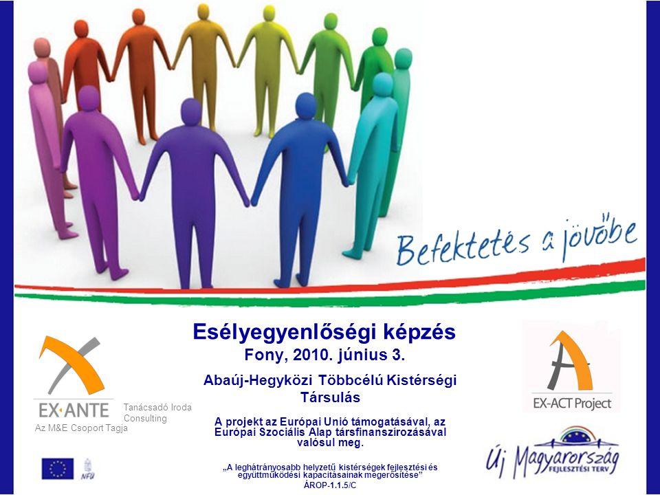 Esélyegyenlőségi képzés Fony, 2010. június 3. Abaúj-Hegyközi Többcélú Kistérségi Társulás A projekt az Európai Unió támogatásával, az Európai Szociáli