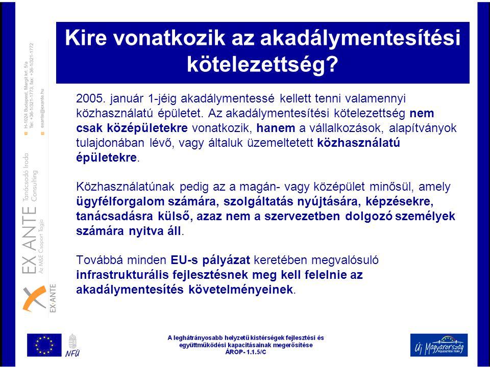 Kire vonatkozik az akadálymentesítési kötelezettség? 2005. január 1-jéig akadálymentessé kellett tenni valamennyi közhasználatú épületet. Az akadályme