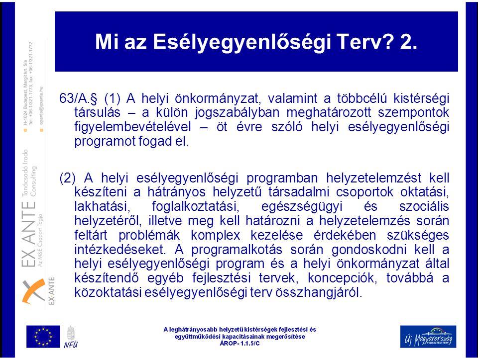Mi az Esélyegyenlőségi Terv? 2. 63/A.§ (1) A helyi önkormányzat, valamint a többcélú kistérségi társulás – a külön jogszabályban meghatározott szempon