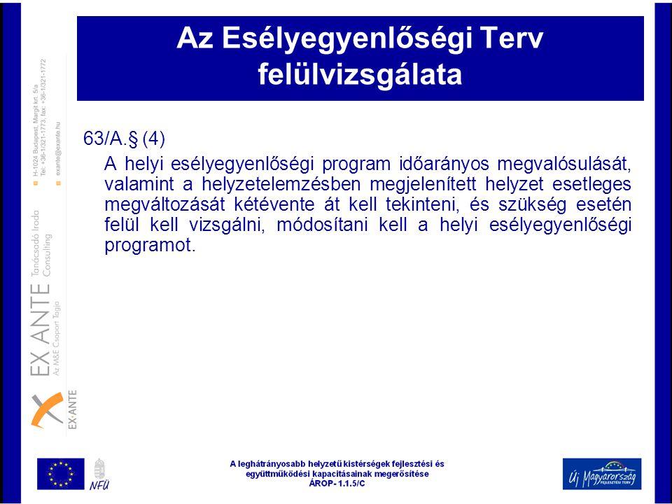 Az Esélyegyenlőségi Terv felülvizsgálata 63/A.§ (4) A helyi esélyegyenlőségi program időarányos megvalósulását, valamint a helyzetelemzésben megjelení