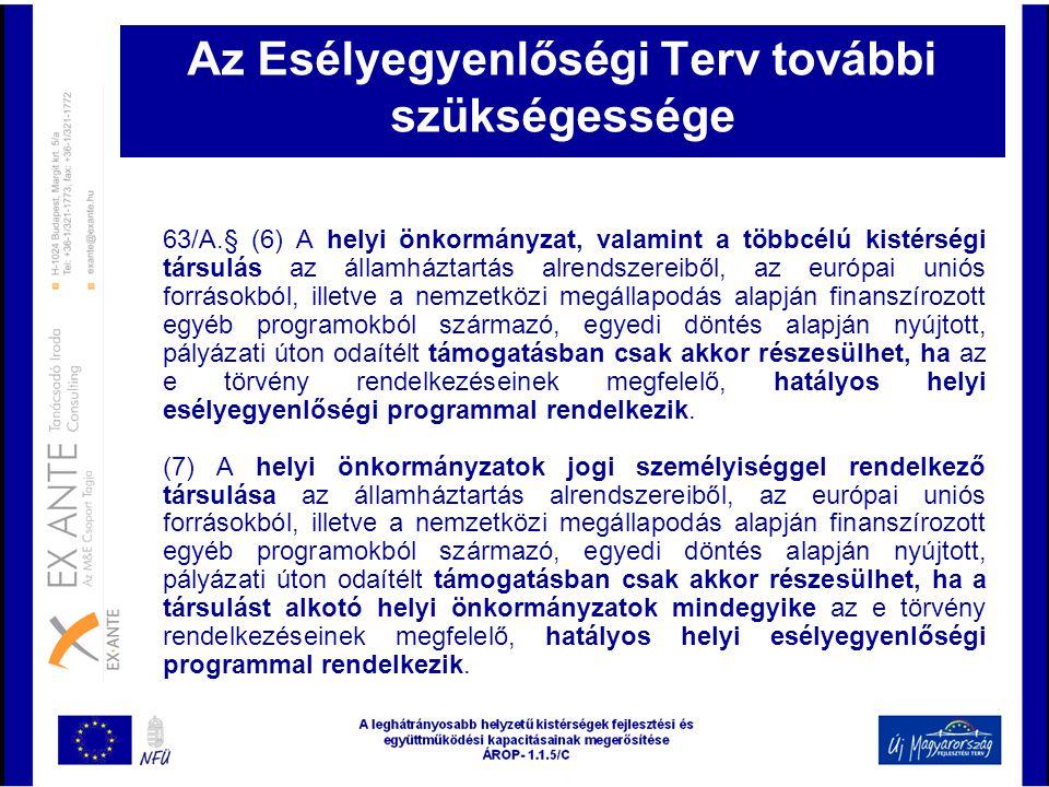 Az Esélyegyenlőségi Terv további szükségessége 63/A.§ (6) A helyi önkormányzat, valamint a többcélú kistérségi társulás az államháztartás alrendszerei