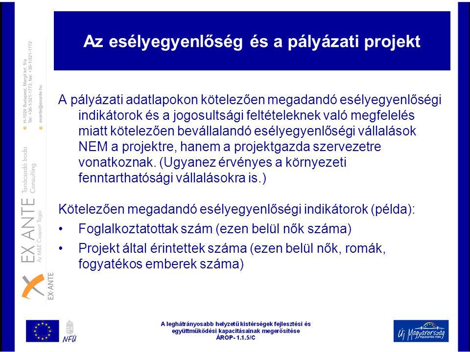 Az esélyegyenlőség és a pályázati projekt A pályázati adatlapokon kötelezően megadandó esélyegyenlőségi indikátorok és a jogosultsági feltételeknek va