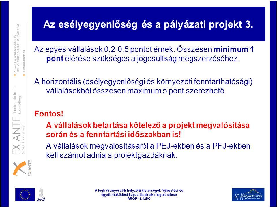 Az esélyegyenlőség és a pályázati projekt 3. Az egyes vállalások 0,2-0,5 pontot érnek. Összesen minimum 1 pont elérése szükséges a jogosultság megszer