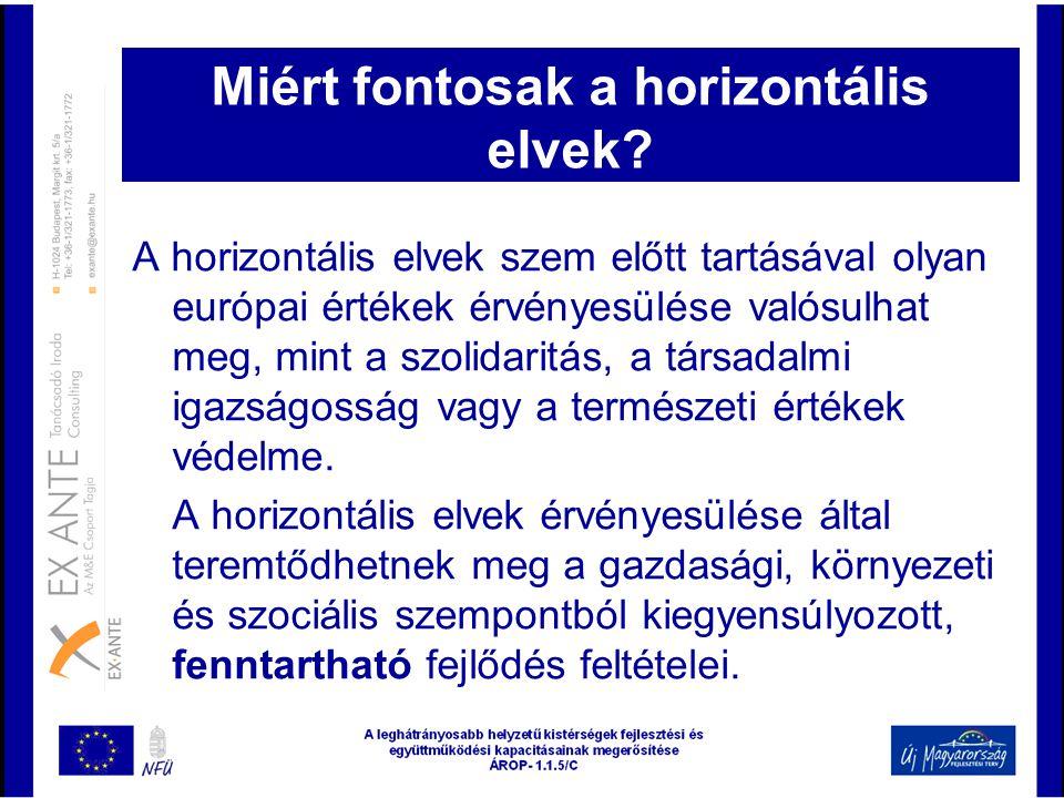 Miért fontosak a horizontális elvek? A horizontális elvek szem előtt tartásával olyan európai értékek érvényesülése valósulhat meg, mint a szolidaritá