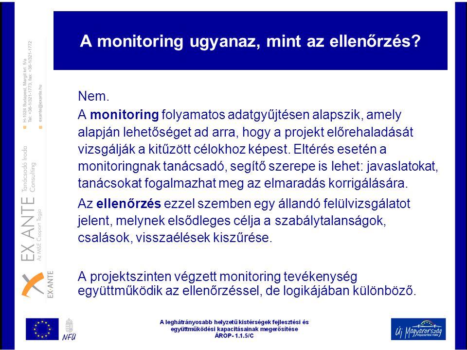 A monitoring ugyanaz, mint az ellenőrzés? Nem. A monitoring folyamatos adatgyűjtésen alapszik, amely alapján lehetőséget ad arra, hogy a projekt előre