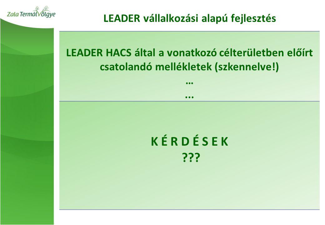 LEADER HACS által a vonatkozó célterületben előírt csatolandó mellékletek (szkennelve!) …...