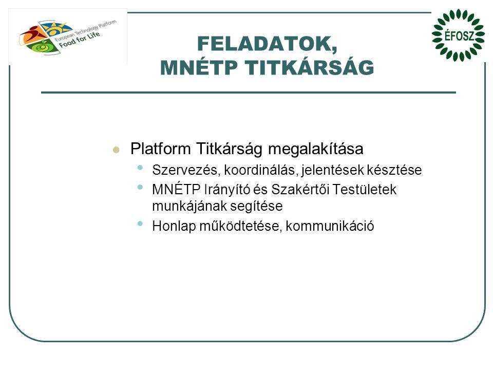 FELADATOK, MNÉTP TITKÁRSÁG  Platform Titkárság megalakítása • Szervezés, koordinálás, jelentések késztése • MNÉTP Irányító és Szakértői Testületek munkájának segítése • Honlap működtetése, kommunikáció