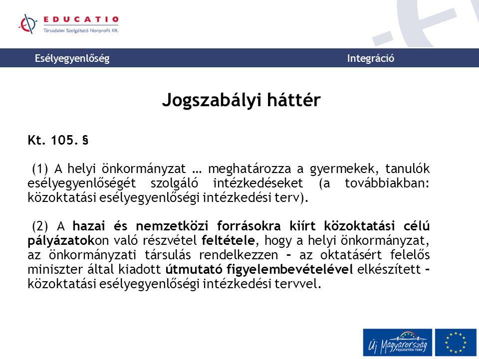 Esélyegyenlőség Integráció Jogszabályi háttér Kt. 105.