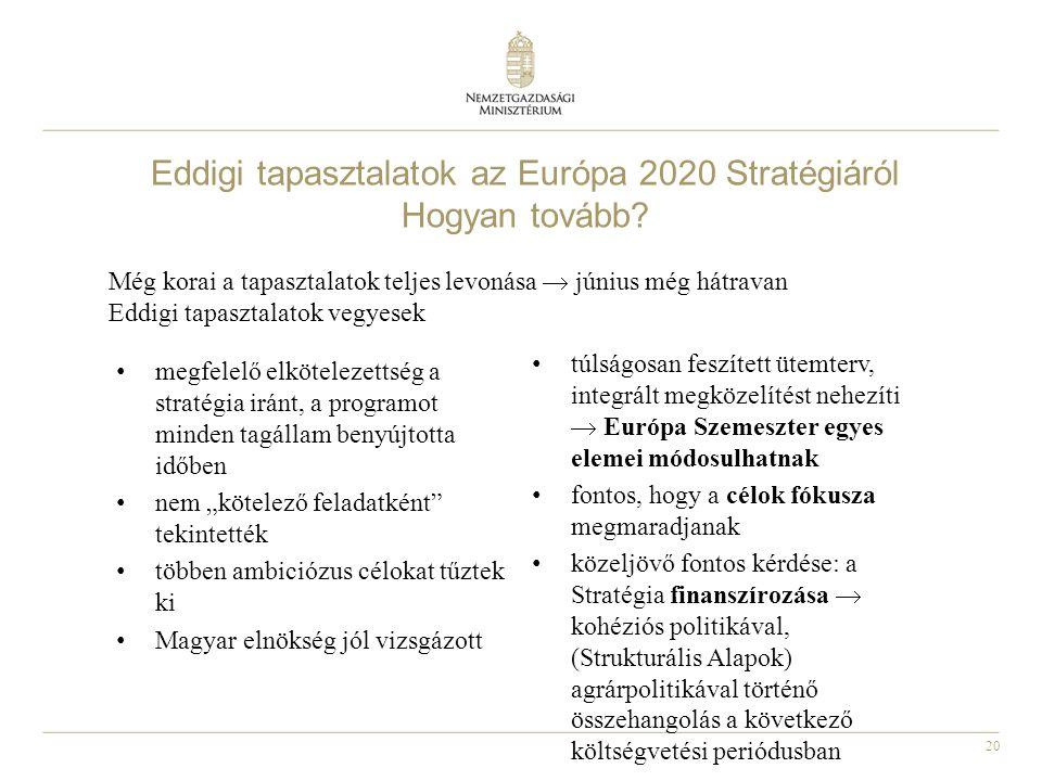 20 Eddigi tapasztalatok az Európa 2020 Stratégiáról Hogyan tovább? • megfelelő elkötelezettség a stratégia iránt, a programot minden tagállam benyújto
