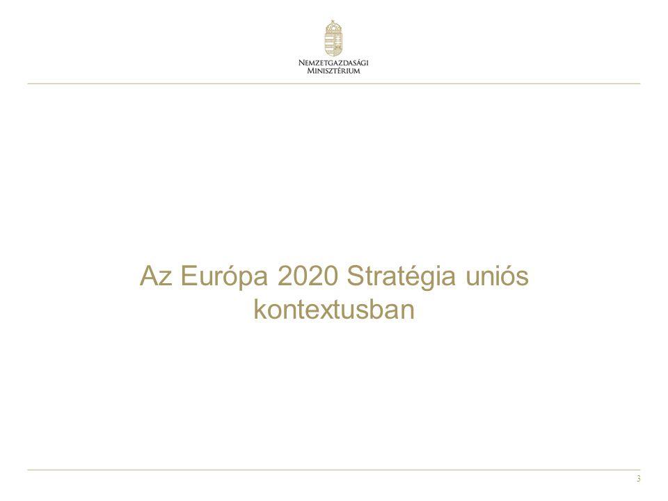 """4 A Lisszabon Stratégia és az Európa 2020 Stratégia összehasonlítása Legfontosabb cél mindkét stratégia esetében: gazdaságpolitikák összehangolása, a versenyképesség és foglalkoztatás növelése Lisszaboni stratégia: • Túl sok és néha ellentmondó célkitűzés (""""karácsonyfa ) • Eszközök hiánya • Kormányzás: o a""""nyitott koordináció módszere nem bizonyult elegendőnek o Szankciók hiánya o Elkötelezettség hiánya Európa 2020 STratégia: • Kevesebb, fókuszáltabb célkitűzés • Összehangoltabb eszközrendszer (bár saját eszközei most sem lesznek) • Kormányzás: o top-down megközelítés o Európa szemeszter • Integráltabb megközelítés: o több gazdaságpolitikai, makro dimenzió o nemcsak versenyképesség  társadalmi integráció"""