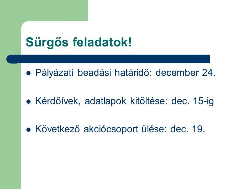 Sürgős feladatok.  Pályázati beadási határidő: december 24.