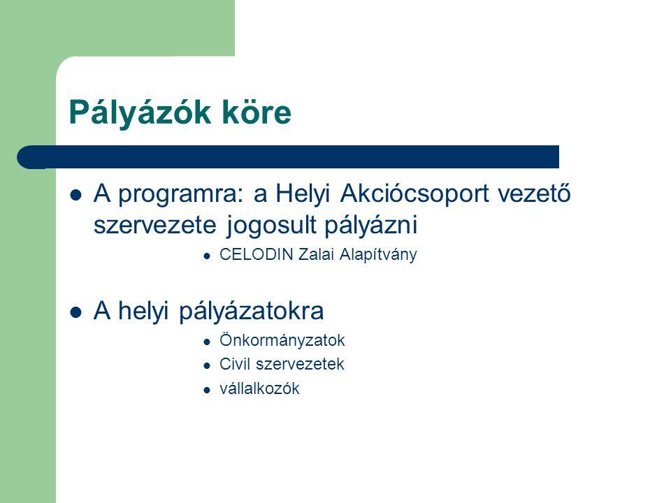 Pályázók köre  A programra: a Helyi Akciócsoport vezető szervezete jogosult pályázni  CELODIN Zalai Alapítvány  A helyi pályázatokra  Önkormányzatok  Civil szervezetek  vállalkozók